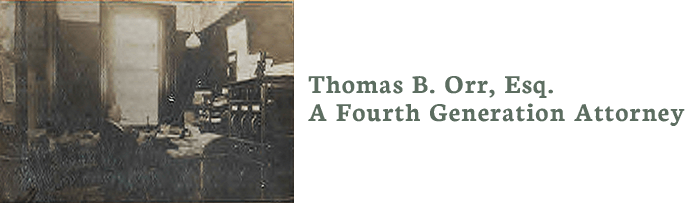 Thomas B. Orr, Attorney at Law Logo with the picture of Attorney Orr's great grandfather